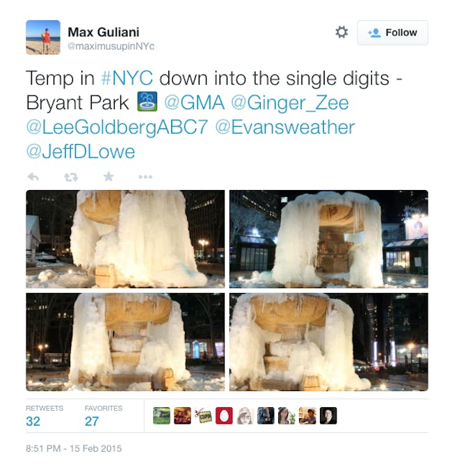 The fountain in Bryant Park frozen. Credit: Max Guliani's twitter via NY Mag
