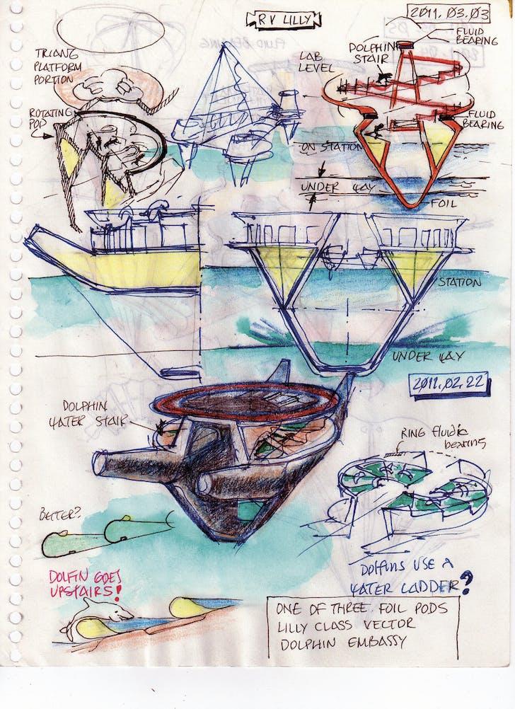 Recent Dolphin Spiral Stair sketches by Embassy designer Curtis Schreier. Curtis Schreier, RV Lilly, 2011.03.05. 2011, pen and colored pencil on paper, 8x10in. Personal sketchbook of Curtis Schreier.
