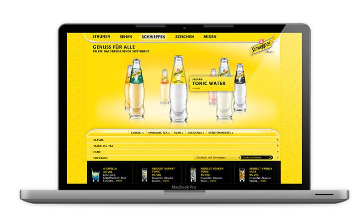 Schweppes Relaunch, Relaunch of Schweppes Germany website