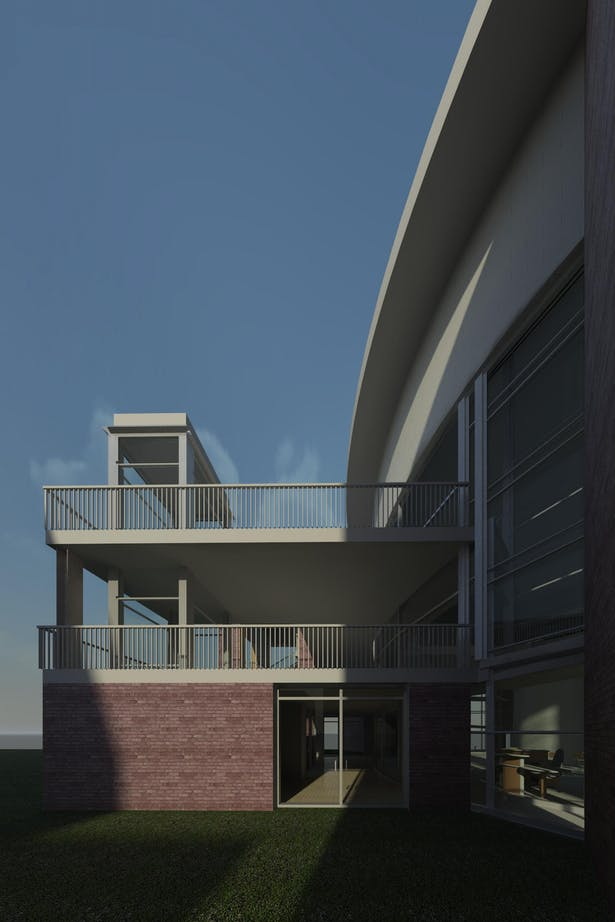 Library Main Entrance - Western View - Initial Render