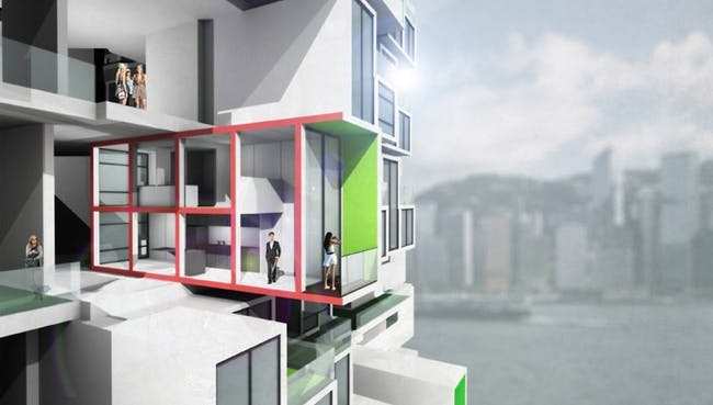 Enjoying Victoria Harbor view with double-height living space at 65th floor, south orientation (Image: Y Design Office)