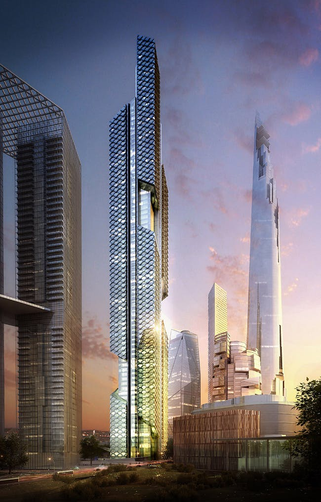Tower 2 at dusk (Image: Adrian Smith + Gordon Gill Architecture)