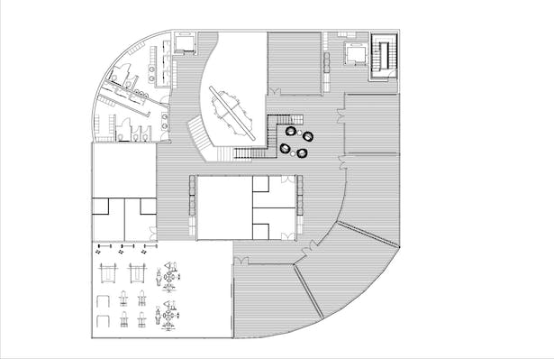 Second Floor has a entry from two elevators and a main stair. This floor has the 5 studio rooms, weight lifting area, 2 squash courts and two bathrooms. Also seen is a small lounge area and locker spaces around the floor and in the bathroom.