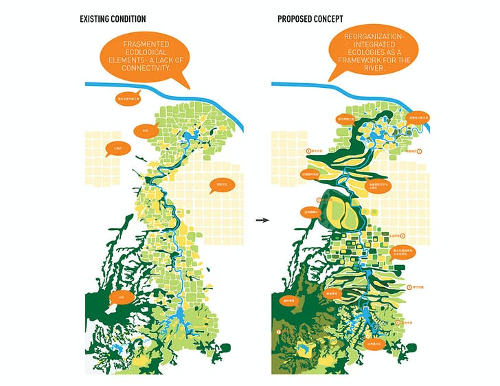 Xingyang Suo River Comprehensive Enhancement Planning Design, Xingyang, China; Graphics Courtesy of SWA