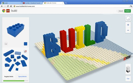 "LEGO® and Google Chrome's ""Build with Chrome"". Image via Google Chrome web store."