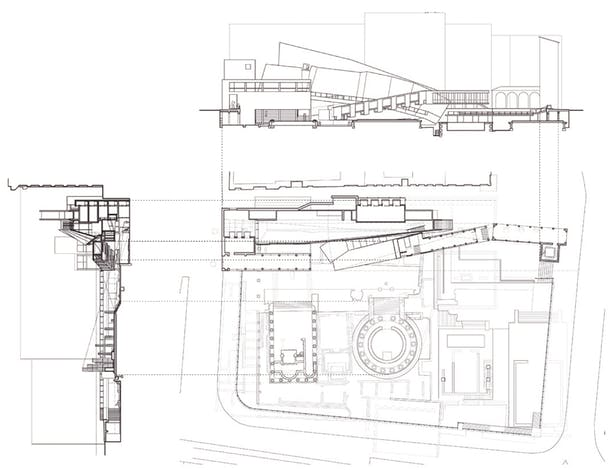 Plan at Modern Street Level & Sections/Elevations