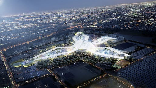 Aerial view of the Dubai World Expo 2020 master plan at night. Image: HOK