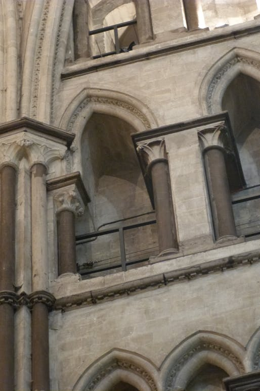 Canterbury Cathedral, north-east transept, west wall, triforium, early 1180s