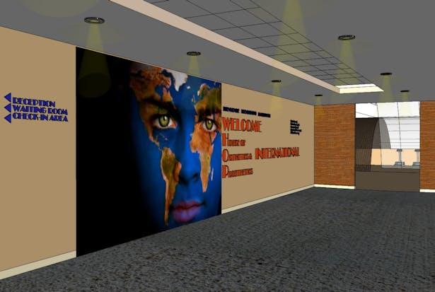 Foyer looking towards gym