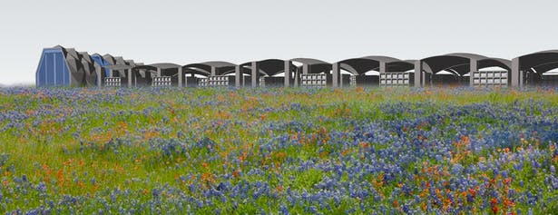 Memorial Space and Mausoleum across field of flowers