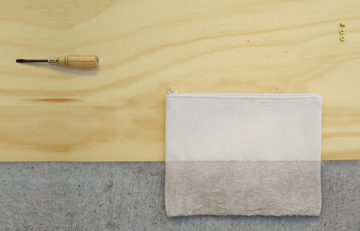 Fall 2011 Accessories – Canvas pouch dipped in concrete mix