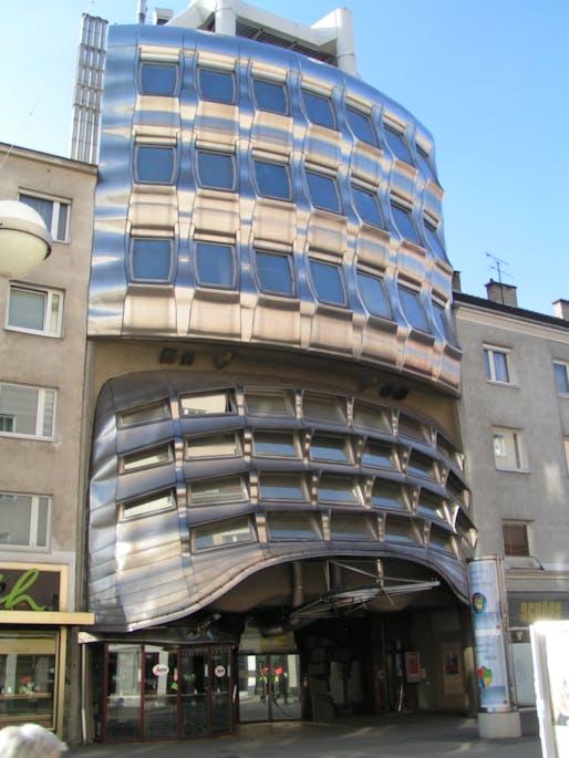 Former Zentralsparkassenfiliale Favoritenstrasse in Vienna, District Favoriten. The Building designed by Günther Domenig via WikiMedia