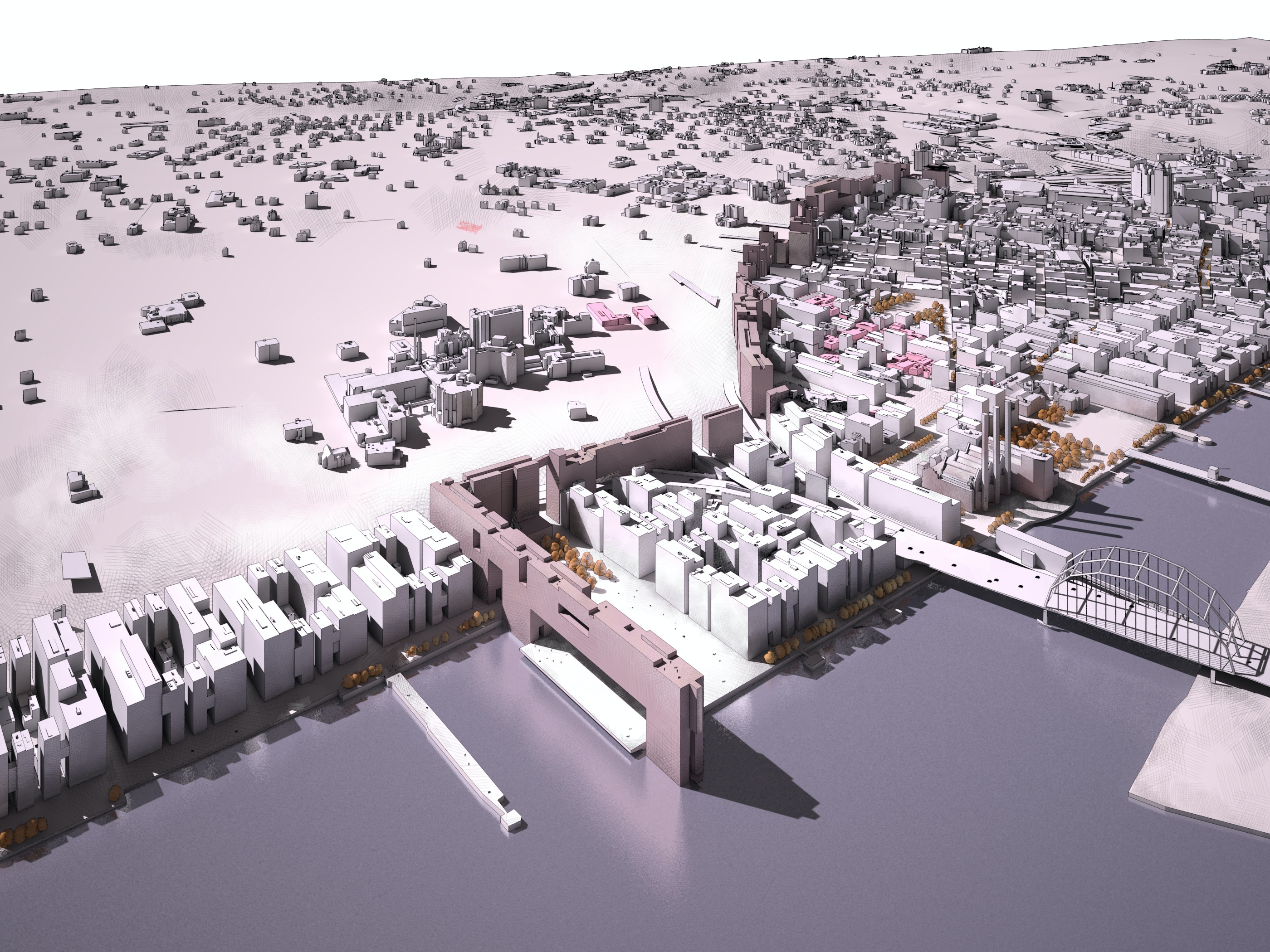 Perspective View of the Water Plaza The