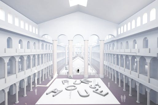 """Rendering of """"Fun House"""" by Snarkitecture. Image courtesy of the National Building Museum."""