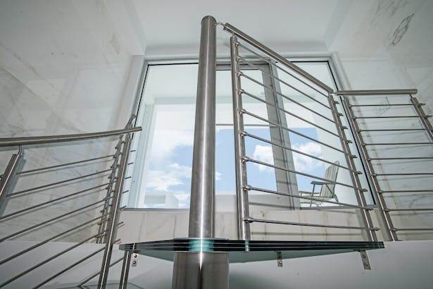 Glass Spiral Staircase - Penthouse in Miami Design District
