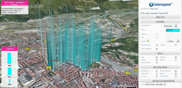 DataAppeal Application showcasing alternative datascape rendering of CO2 Levels, in Grenoble France, using cyan color option. Data Source: Sensaris Eco-Senspod, Senaris France.