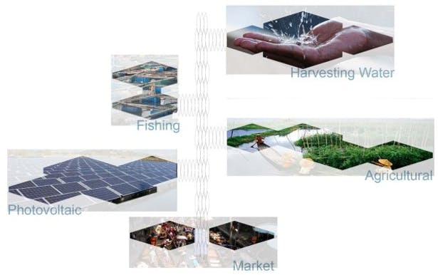 5 disciplines which are Market, Photovoltaic, Agriculture, Fishing, and Water Harvesting