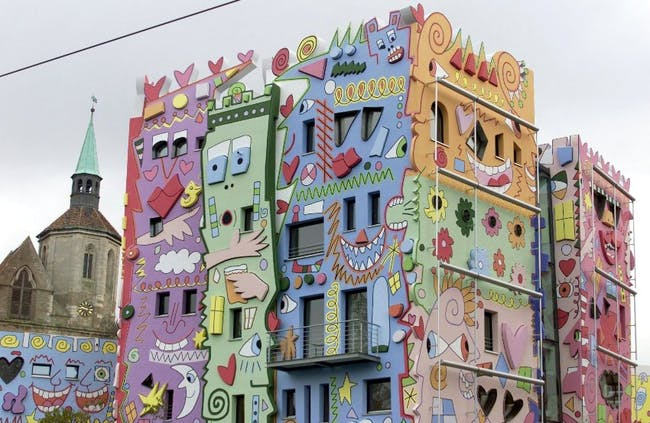 The 'Happy Rizzi Haus' in the German city of Braunschweig was designed by American artist James Rizzi in the late 1990s. 'I feel sorry for the people who work there or have to look at it every day,' says Fröbe.