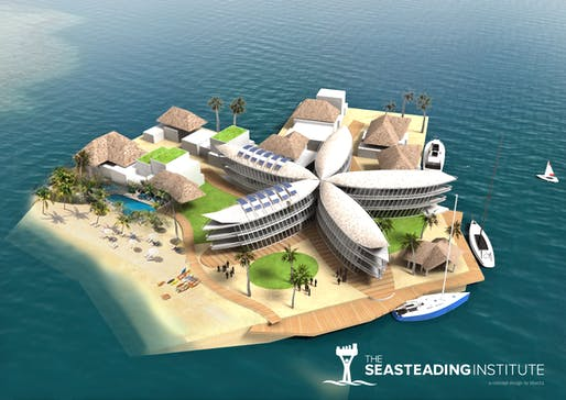 Rendering of a 2017 proposal for the Floating Island Project in French Polynesia. Image: Seasteading Institute.