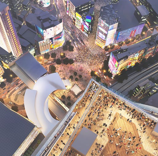 A new rooftop observatory near Tokyo's bustling Shibuya station will soon allow for spectacular views. (Image via japantimes.co.jp)
