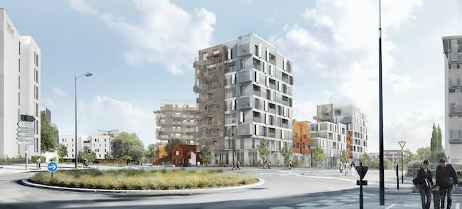 a/LTA's winning Intergenerational Residence proposal in Rennes, France. Image © FOZR