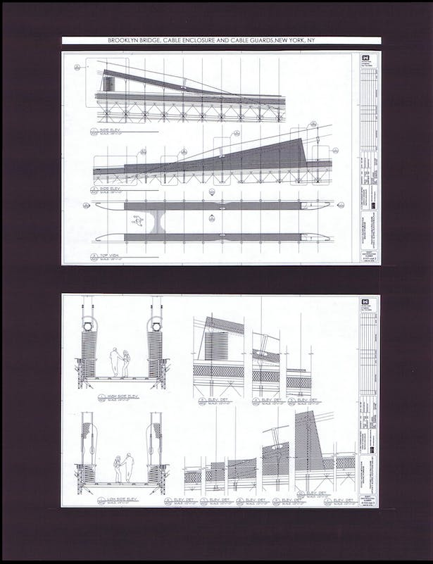 Cable enclosures at pedestrian walkway, Plans, Elevations, Details