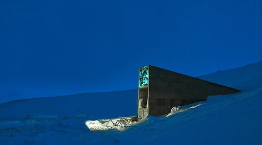 The Svalbard Seed Vault extends 393 into a sandstone mountain in Norway. Image: via glamox.com