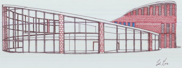 Concept Drawing 1 - Bricks and Glass