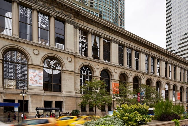 The Chicago Cultural Center, decked out for the Biennial with Norman Kelley's window treatments. Photo by Steve Hall, courtesy of Chicago Architecture Biennial.