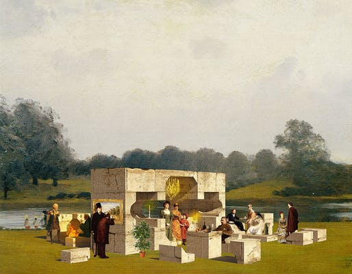 A fanciful rendering of NLÉ's Summer Pavilion. Construction of the five pavilions that will grace Hyde Park this summer has begun. Credit: NLÉ via the Serpentine Galleries