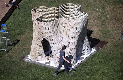The completed 'Bloom' structure in the courtyard of UC Berkeley's Wurster Hall. (Photo: Tom Levy; Image via berkeley.edu)