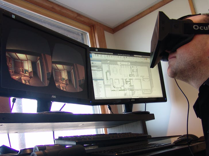 Architect working with Oculus Rift, via archvirtual.com.