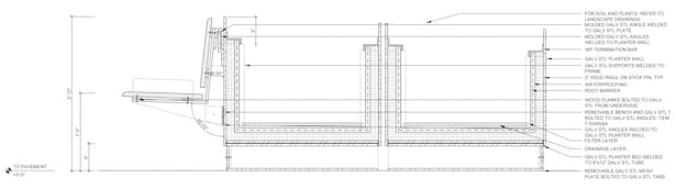 Section Through Transportable Planters with Removable Benches