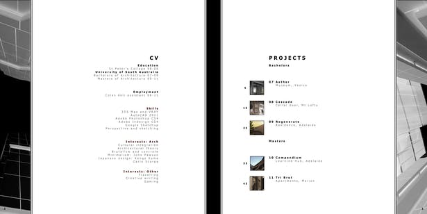 The contents section of my portfolio