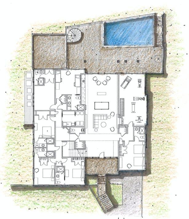 Floor Plan Design Rendering; Revit with Hand-rendering