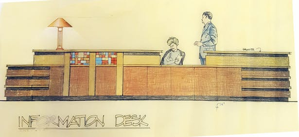 Reception Desk, Alegiant Healthcare Leo A Daly Architecture, 4/02-4/05, Omaha, NE