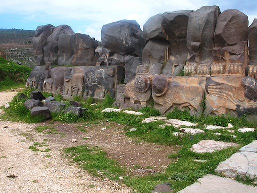 Sculpted wall of the Ain Dara Iron Age temple before the airstrike caused severe destruction. Photo via Wikipedia.