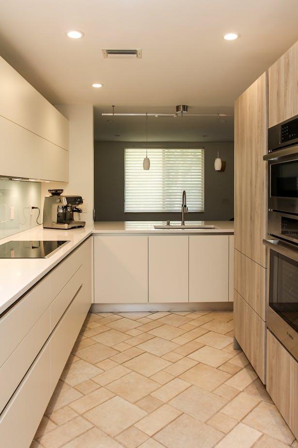 Compact Kitchen Design with Stone Ash | Schwarzmann LLC ...