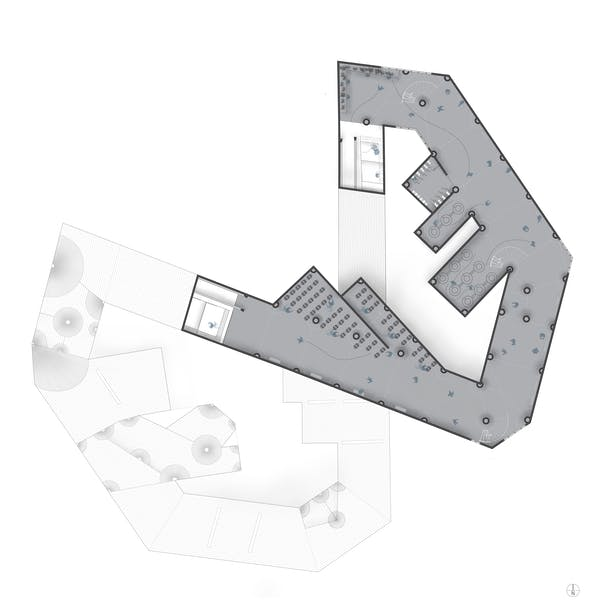 Second floor plan showing wine production