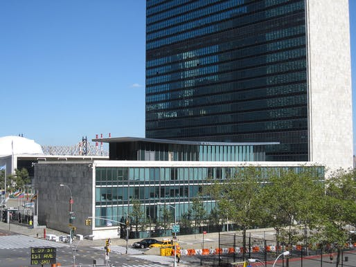 The lovely Dag Hammarskjöld Library building, part of the United Nations headquarters compound and dedicated in 1961, doesn't live up to 2015's security requirements and has been emptied of its functions. (Photo: Wikipedia)