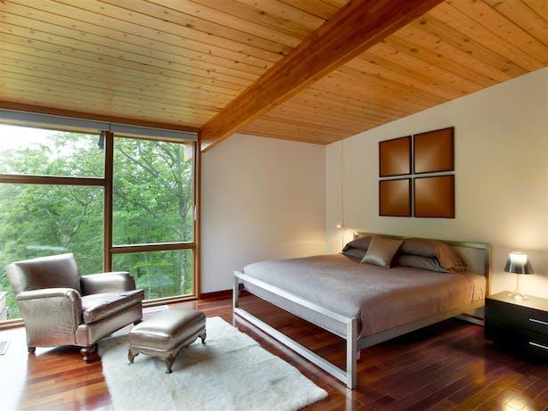 Master bedroom with Brazilian wood flooring