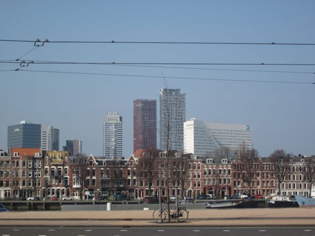 View of tower within the Rotterdam skyline