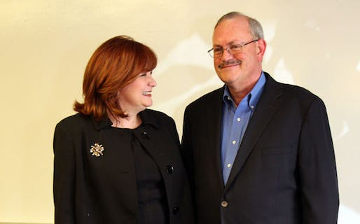 Architect Michael Cummings, who grew up in a rural community, created the Michael A. Cummings Scholarship with his wife Pamela (left) to support architecture students with a similar experience. Photo via ljworld.com.