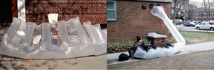 (L): The ziplock bag 'grid.' (R): Michael M. inhabits his paraSITE, which eluded New York's 3.5 foot high anti-tent law. Images: Michael Rakowitz