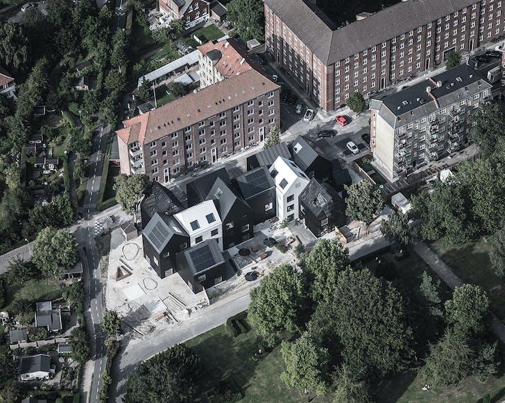 A bird's eye view of Frederiksvej Kindergarten showcases the school's unique structure.