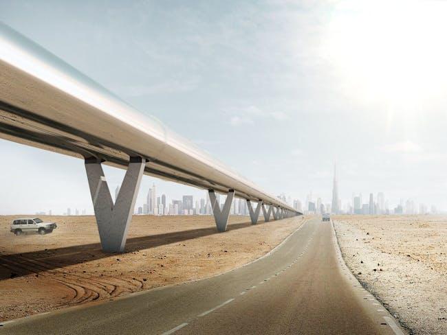 Track design for Hyperloop One's Dubai proposal, courtesy of Hyperloop One.