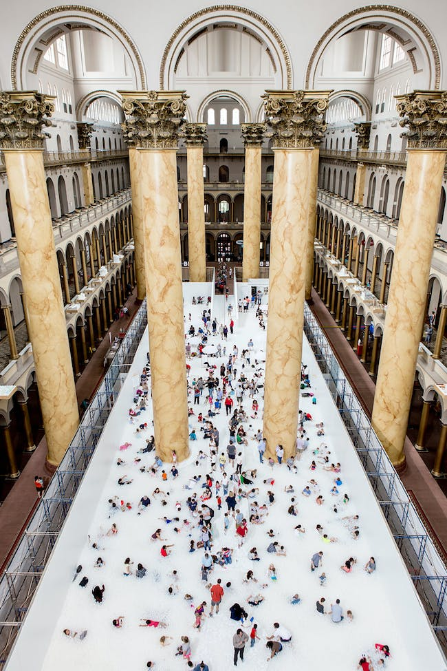 Snarkitecture's BEACH installation at the National Building Museum. Photo by Noah Kalina.