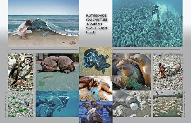 Inspiration board conveying ocean pollution and its effects