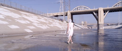 A screenshot from '6,' an experimental documentary about the Sixth Street Viaduct spanning the LA River. Credit: Gharnasi