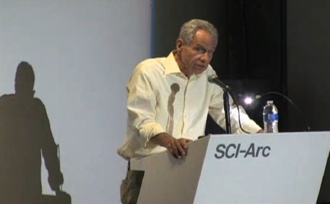 Eric Owen Moss delivered his farewell address as Dean of Sci Arc last week. Credit: SciArc